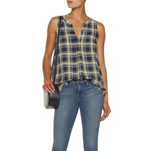NWT $185 JOIE Blue Aruna Check Washed-Silk Blouse